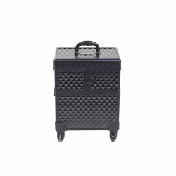 MAKEUP CASE BLACK DIAMOND WITH MIRROR (KC-393S)